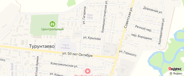 Улица Крылова на карте села Турунтаево с номерами домов
