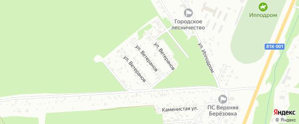 Улица Ветеранов на карте территории ДНТ Ургы с номерами домов