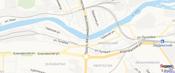 Карта территории ДНТ Удинского города Улан-Удэ в Бурятии с улицами и номерами домов
