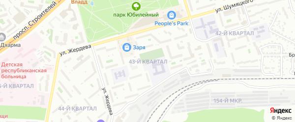 Тепличный 43-й квартал на карте Улан-Удэ с номерами домов