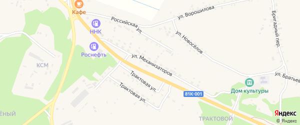 Улица Механизаторов на карте села Турунтаево с номерами домов