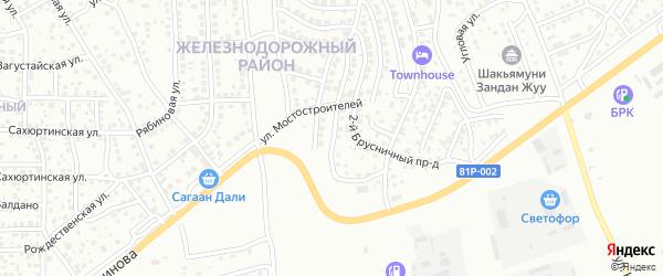 Брусничный 1-й проезд на карте Улан-Удэ с номерами домов