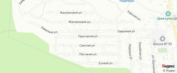 Пригорная улица на карте территории ДНТ Оптимиста с номерами домов