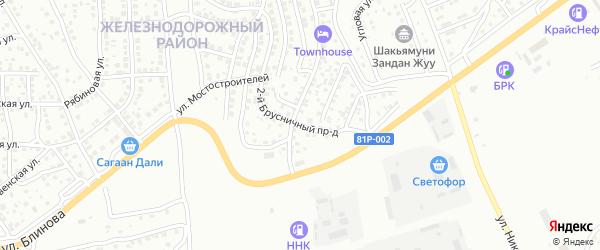 Брусничный 2-й проезд на карте Улан-Удэ с номерами домов