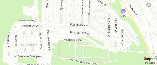 Благодатная улица на карте Улан-Удэ с номерами домов
