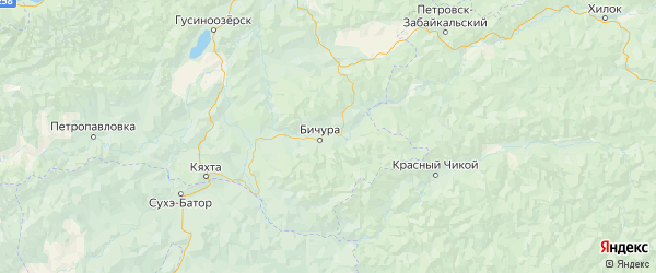 Карта Бичурского района республики Бурятия с городами и населенными пунктами