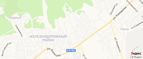 Карта территории ДНТ Зеленого города Улан-Удэ в Бурятии с улицами и номерами домов