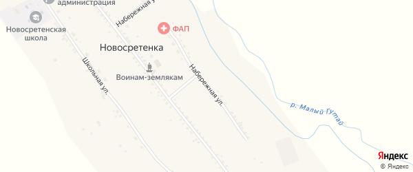 Набережная улица на карте села Новосретенки с номерами домов