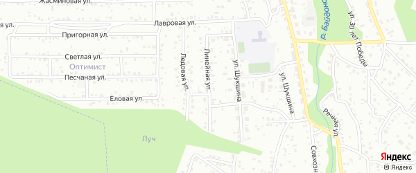 Линейная улица на карте Улан-Удэ с номерами домов