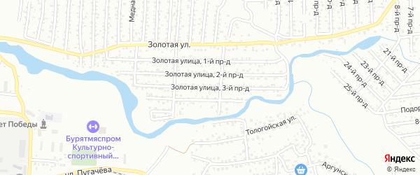 Улица Золотая 3 проезд (СНТ Металлист) на карте Улан-Удэ с номерами домов