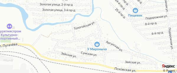 Сумской переулок на карте Улан-Удэ с номерами домов