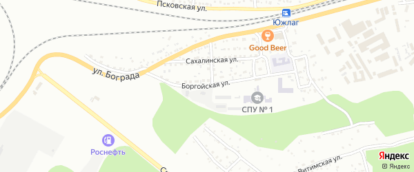 Боргойская улица на карте Улан-Удэ с номерами домов
