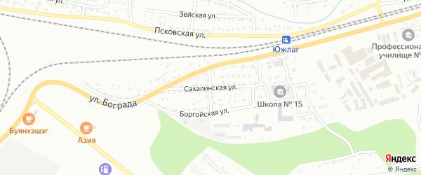 Сахалинская улица на карте Улан-Удэ с номерами домов