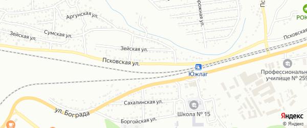 Псковская улица на карте Улан-Удэ с номерами домов