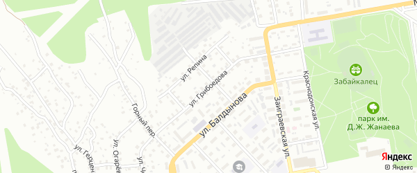 Улица Грибоедова на карте Улан-Удэ с номерами домов