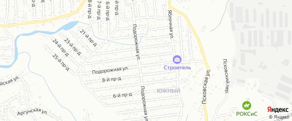 Улица Подорожная проезд 13 на карте территории СНТ Строителя с номерами домов