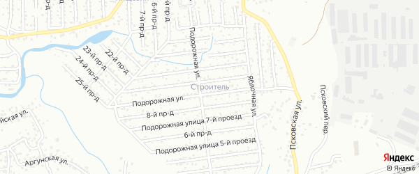 Подорожная улица на карте территории СНТ Строителя с номерами домов