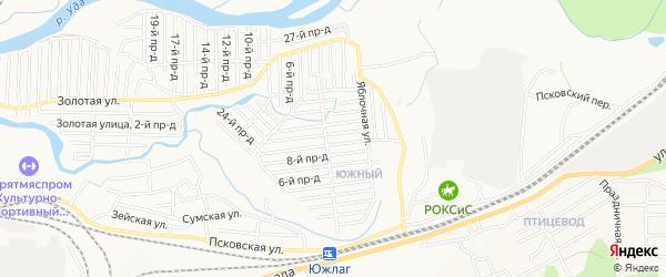 Территория СНТ Строитель на карте Улан-Удэ с номерами домов