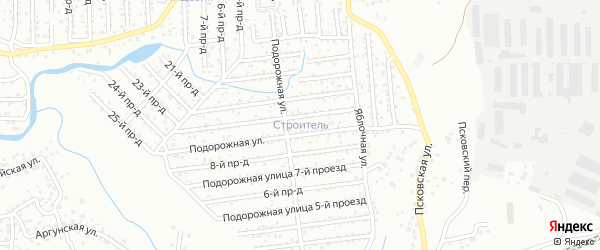 Проезд Подорожная 8 на карте территории СНТ Строителя с номерами домов