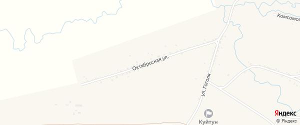 Октябрьская улица на карте села Куйтуна с номерами домов