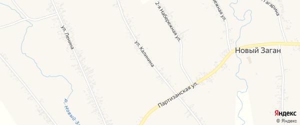 Улица Калинина на карте села Нового Загана с номерами домов