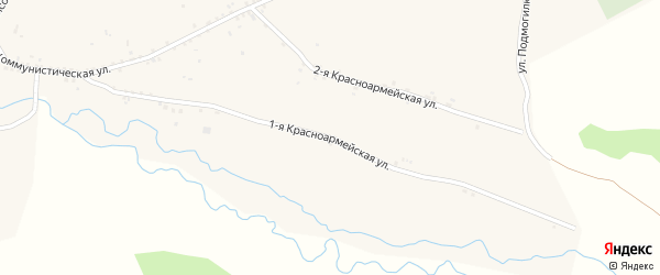 Красноармейская 1-я улица на карте села Куйтуна с номерами домов