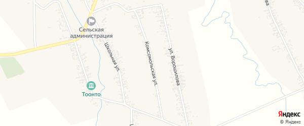 Комсомольская улица на карте села Нового Загана с номерами домов