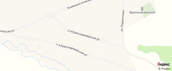 Красноармейская 2-я улица на карте села Куйтуна с номерами домов