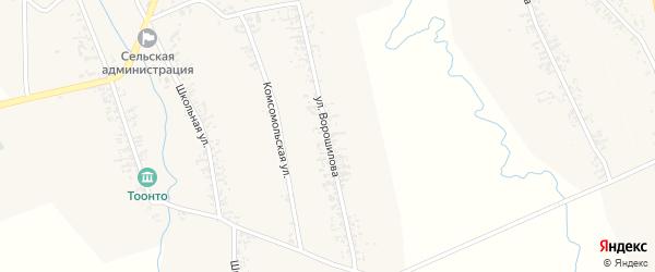 Улица Ворошилова на карте села Нового Загана с номерами домов