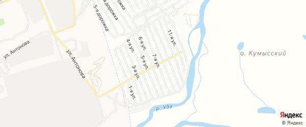 Карта СНТ Восхода в Бурятии с улицами и номерами домов