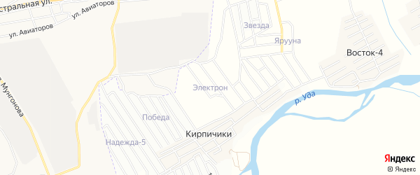 Карта поселка ДНТ Электрона в Бурятии с улицами и номерами домов