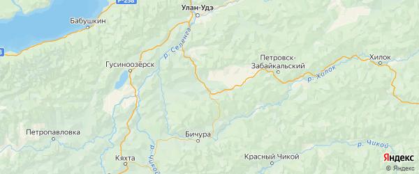 Карта Мухоршибирского района республики Бурятия с городами и населенными пунктами