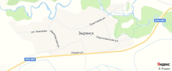 Карта села Зырянска в Бурятии с улицами и номерами домов