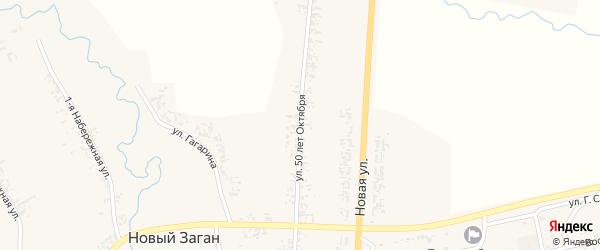 Улица 50 лет Октября на карте села Нового Загана с номерами домов