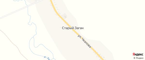 Солнечная улица на карте села Старого Загана с номерами домов