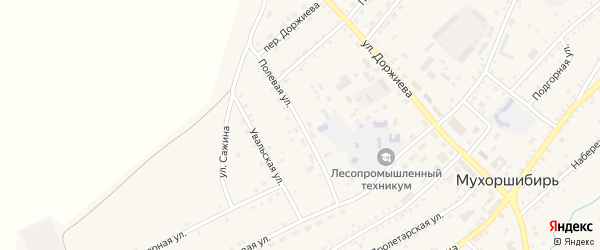 Полевая улица на карте села Мухоршибири с номерами домов