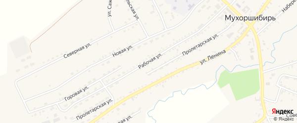 Рабочая улица на карте села Мухоршибири с номерами домов