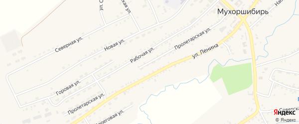 Пролетарская улица на карте села Мухоршибири с номерами домов