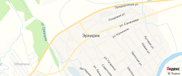 СТ N10 Ветеран на карте села Эрхирик с номерами домов