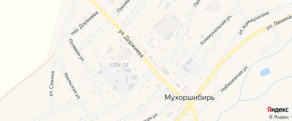 Переулок Доржиева на карте села Мухоршибири с номерами домов