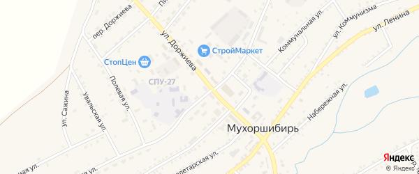 Улица Доржиева на карте села Мухоршибири с номерами домов