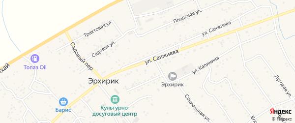 Улица Санжиева на карте села Эрхирик с номерами домов