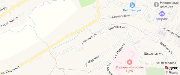 Заречная улица на карте села Мухоршибири с номерами домов