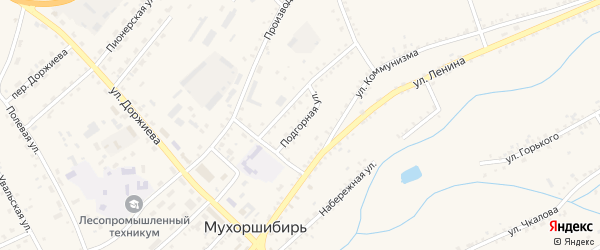Подгорная улица на карте села Мухоршибири с номерами домов
