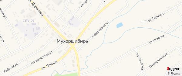 Набережная улица на карте села Мухоршибири с номерами домов
