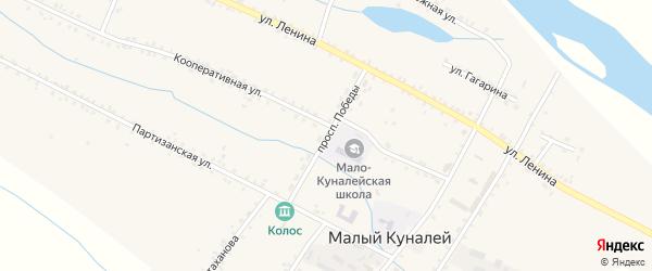 Проспект Победы на карте села Малого Куналея с номерами домов