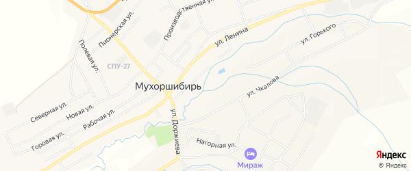 Карта села Мухоршибири в Бурятии с улицами и номерами домов