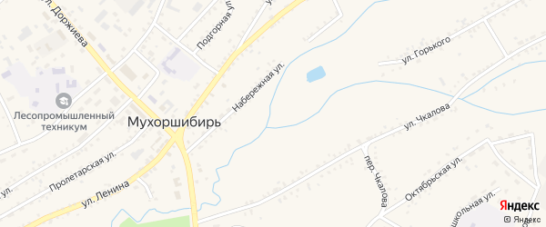 Зеленая улица на карте села Мухоршибири с номерами домов
