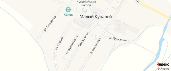 Советская улица на карте села Малого Куналея с номерами домов