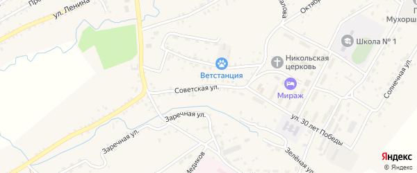 Советская улица на карте села Мухоршибири с номерами домов